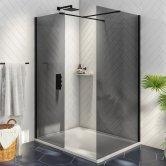 Orbit Noire Wet Room Glass Panel 1200mm Wide - 8mm Black Glass