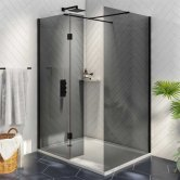 Orbit Noire Wet Room Glass with Deflector Panel (900mm + 275mm) Wide - 8mm Black Glass