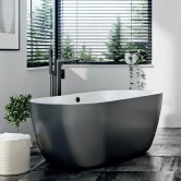 Orbit Riviera Noire Freestanding Bath 1655mm x 750mm - Matt Black Base
