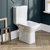 Orbit Solar Open Back Close Coupled Rimless Toilet with Push Button Cistern - Soft Close Seat