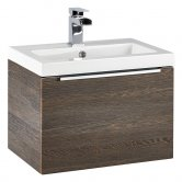 Orbit Supreme Wall Hung 1-Drawer Vanity Unit with Basin 500mm Wide - Dark Oak