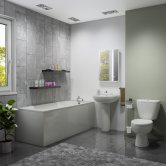 G4K Bathroom Suite 1700mm Single Ended Bath, Basin and Close Coupled Toilet