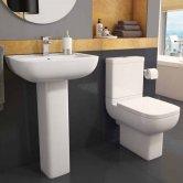 Mars Bathroom Cloakroom Suite Close Coupled Toilet 1 Tap Hole Basin