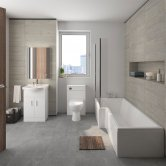 Mayford Modern Complete Bathroom Furniture Suite with L-Shaped Bath 1700mm - Left Handed