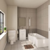 Mayford Modern Complete Bathroom Furniture Suite with B-Shaped Bath 1700mm - Left Handed