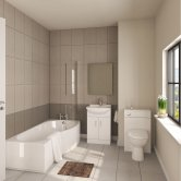 Mayford Modern Complete Bathroom Furniture Suite with B-Shaped Bath 1700mm - Right Handed