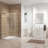 Metro En-Suite with Offset Quadrant Shower Enclosure 900mm x 760mm - Left Handed