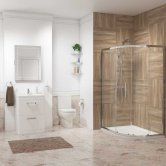Metro En-Suite with Offset Quadrant Shower Enclosure 900mm x 760mm - Right Handed