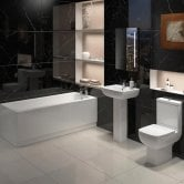 Options Bathroom Suite 1700mm Single Ended Bath, Basin and Close Coupled Toilet