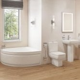 Options Modern Complete Bathroom Suite with Offset Corner Bath 1500mm - Right Handed