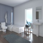 Quattro Modern Complete Bathroom Suite with L-Shaped Bath 1700mm - Left Handed
