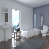 Quattro Modern Complete Bathroom Suite with L-Shaped Bath 1700mm - Right Handed