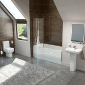 Studio Bathroom Suite 1700mm LH Shower Bath, Basin and Close Coupled Toilet