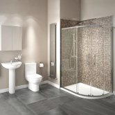Studio Bathroom En-Suite with Offset Quadrant Shower Enclosure 1000mm x 800mm - Right Handed