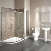 Studio Bathroom En-Suite with Offset Quadrant Shower Enclosure 1000mm x 800mm - Left Handed