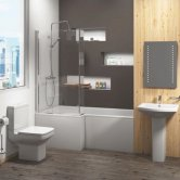 Trim Bathroom Suite 1700mm Left Handed Shower Bath, Basin and Close Coupled Toilet