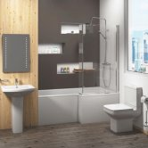 Trim Bathroom Suite 1700mm Right Handed Shower Bath, Basin and Close Coupled Toilet