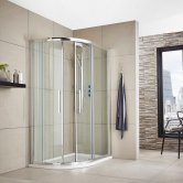 Premier Apex Offset Quadrant Shower Enclosure 900mm x 800mm with Shower Tray LH - 8mm Glass