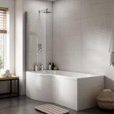 Premier B-Shaped Shower Bath 1700mm x 735mm/900mm - Left Handed
