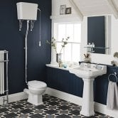 Nuie Carlton Traditional Bathroom Suite High Level Toilet 560mm Basin - 2 Tap Hole
