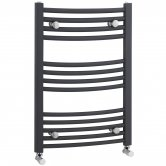 Nuie Curved Heated Towel Rail 700mm H x 500mm W Anthracite