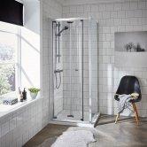 Premier Ella Bi-Fold Shower Enclosure 900mm x 900mm Excluding Shower Tray - 5mm Glass