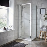 Premier Ella Pivot Shower Enclosure 700mm x 700mm with Shower Tray - 5mm Glass