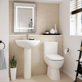 Nuie Ivo Bathroom Suite Close Coupled Toilet and Basin 550mm 1 Tap Hole