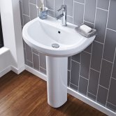 Premier Ivo Basin and Full Pedestal 555mm Wide - 2 Tap Hole