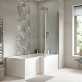 Premier Square L-Shaped Shower Bath 1500mm x 700mm/850mm Right Handed