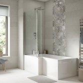Premier Square L-Shaped Shower Bath 1700mm x 700mm/850mm Left Handed