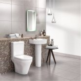 Nuie Marlow Bathroom Suite Close Coupled Toilet 1 Tap Hole Basin