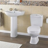 Nuie Melbourne Bathroom Suite, Close Coupled Toilet, 1 Tap Hole Basin