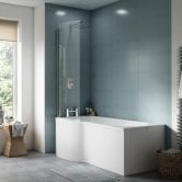 Premier P-Shaped Shower Bath with Front Panel and Screen 1700mm x 700mm/850mm - Left Handed