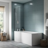 Premier P-Shaped Shower Bath with Front Panel and Screen 1500mm x 700mm/850mm - Left Handed