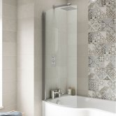 Premier P-Shaped Shower Bath Screen, 1435mm High x 720mm Wide, 6mm Glass