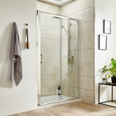 Premier Pacific Sliding Shower Door 1000mm Wide - 6mm Glass
