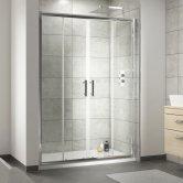 Nuie Pacific Double Sliding Shower Door 1400mm Wide - 6mm Glass