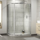 Premier Pacific Offset Quadrant Shower Enclosure 900mm x 760mm with Shower Tray LH - 6mm Glass