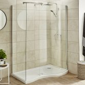 Nuie Pacific Curved Walk-In Shower Enclosure, 1395mm x 900mm, Excluding Tray