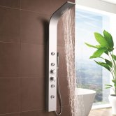 Nuie Peyton Thermostatic Shower Tower Panel 4 Round Body Jets - Matt Silver