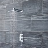 Nuie Pioneer Square Twin Concealed Shower Valve, Fixed Head, Shower Arm, Chrome