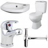 Nuie Bathroom Suite Close Coupled Toilet and Basin 350mm 1 Tap Hole