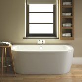 Premier Shingle Double Ended Back to Wall Bath with Panel 1700mm x 750mm - White