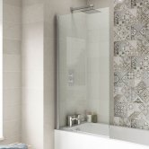 Premier Square Bath Screen 1435mm High x 775-790mm Wide - 6mm Glass