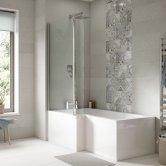 Premier Square L-Shaped Shower Bath 1600mm x 700mm/850mm - Left Handed