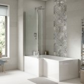 Premier Square L-Shaped Shower Bath 1600mm x 700mm/850mm - Right Handed