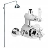 Nuie Traditional Twin Exposed Thermostatic Shower Valve, Rigid Riser Kit, Fixed Head, Chrome