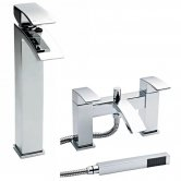 Premier Vibe Tall Mono Basin Mixer Tap and Bath Shower Mixer Tap Pillar Mounted, Chrome