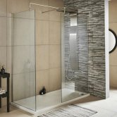 Nuie Walk-In Shower Enclosure with 1200mm x 800mm Tray - 8mm Glass